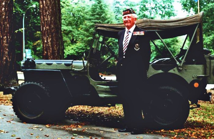 Brigadier H P Bell-Irving with Colin MacGregor Stevens' 1944 Willys MB