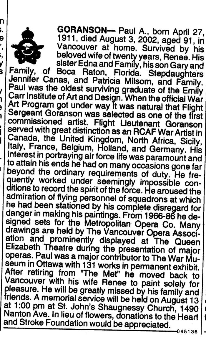 Paul Goranson Obituary Vancouver PROVINCE newspaper, 2002 August 11
