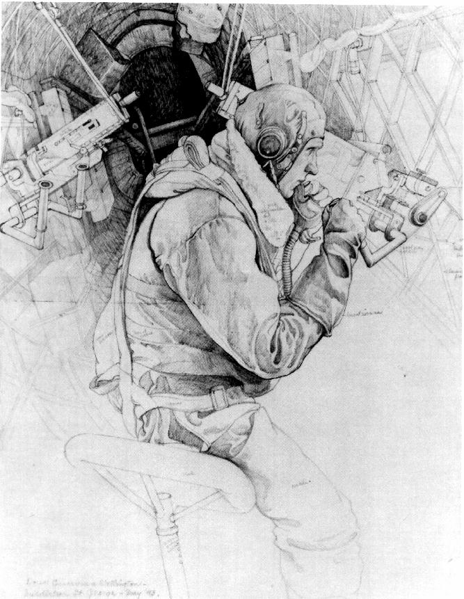 Paul Goranson Wimpey (Wellington bomber) waist gunner drawing