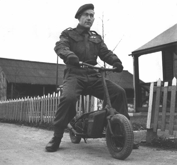 Sgt. Gordon Davies of 1 Canadian Parachute Battalion on a Welbike MK. I on January 5, 1944. He was apparently working in the Battalion Orderly Room. Canadian DND Army photo 27889 (LAC collection)