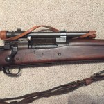 A late 1943 M1903A4 serial number 3422193. This rifle is original with the blued finish but the M73B1 scope has been refurbished by the military. - Right side of centre section of rifle.