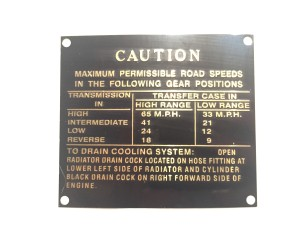 1942 WILLYS jeep Canadian Contract CDLV-505 - CAUTION data plate