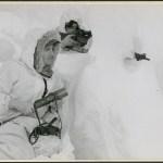1944 Lovat Scouts training in Canada. Mountaineer A Findlay sniper; Mountaineer J MacLean observer. Jasper Alberta (L&AC MIKAN 4295693)