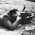 Range testing the Canadian Long Branch rifle with experimental REL 5X scope.