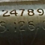 British Scout Regiment Telescope Mark II S. Detail of markings (lower portion) . Serial number 24789. Optical Stores number 126 G.A.