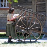 Fort Nisqually Brigade Days 2016 AUG (104) - Putting the supplies into the storehouse.