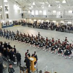 (100) The Cadets march off.