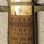 "British made 1944-1946 period canvas Scope ""Case Sighting Telescope No. 8 MK. 2. This shows the rifle number K33577 (painted over original number X35007) and scope number 28557. Optical Stores number ""OS 2578A"" Made by ""F LTD. """