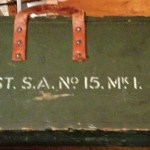 Small Arms Chest No. 15 MK. I for the No. 4 MK. I (T) sniper rifle. Showing the markings on the front.