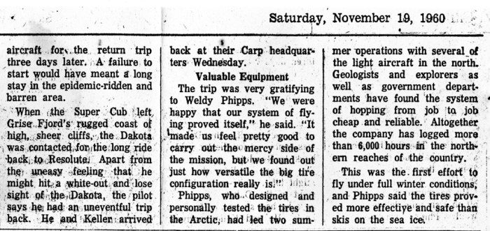 "Newspaper article The Ottawa Citizen 1960-11-19 ""Mercy Flight to North"" Pilot Weldy Phipps and Dr. A. H. (""Pete"") STEVENS. Right half"