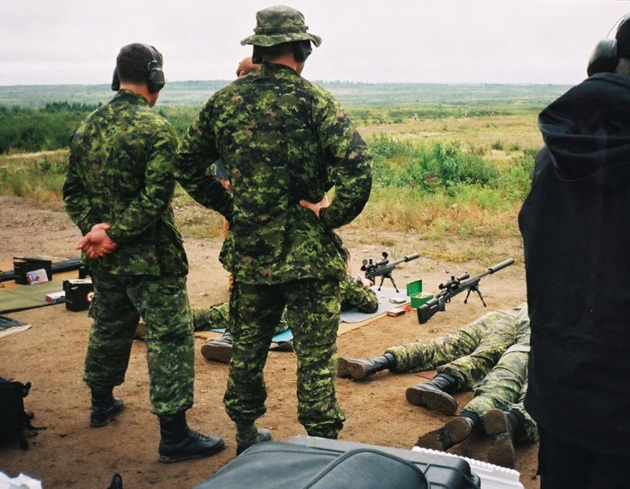 CFB Gagetown 2003. The event appears to be an international sniper competition. The rifles here appear to be the C3A1 with the McMillan stocks.