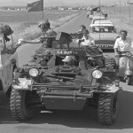 Ferret 54-82556 escorting a convoy in Cyprus 1968 -detail (CYP68-149)