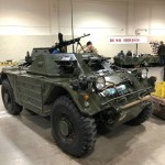 """Ferret 54-82595 now restored and named """"DAGGER"""" by the LdSH(RC). Hull number 379-B-5-4 . A seen at the Calgary Gun Show 2018 March. (Ian Newby photo)"""