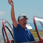 Granley family aerobatics. Bud Granley, aged 81, after performing aerobatics. BBAS 2018 (Photo by Colin MacGregor Stevens)