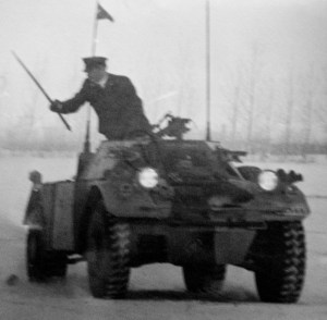 FERRET 54-82566. LdSH.  The man with the cane might be the RSM. The name of the car is above the driver's head. It is not quite legible. A guess is CHILLIWACK. (LdSH Archives)