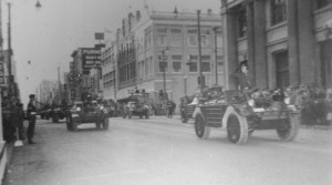 Ferret 54-82563. in Remembrance Day Parade 1956. Major General Chris Vokes is taking the salute. Marching troops are Royal Canadian Army Cadets or Milita, not Regular Force.  In the right foreground is 54-82563. [LdSH(RC) Archives]