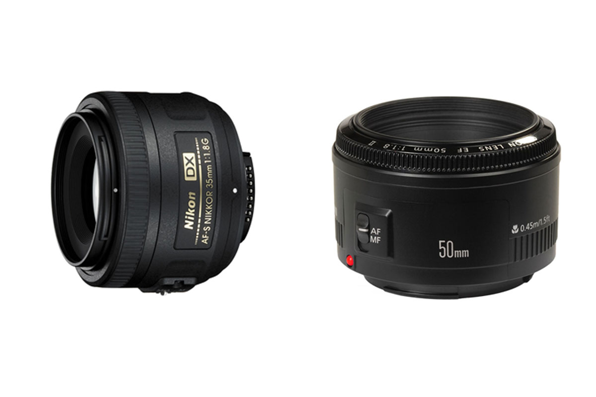 Le 35mm f/1.8 de chez Nikon et le 50mm f/1.8 de chez Canon