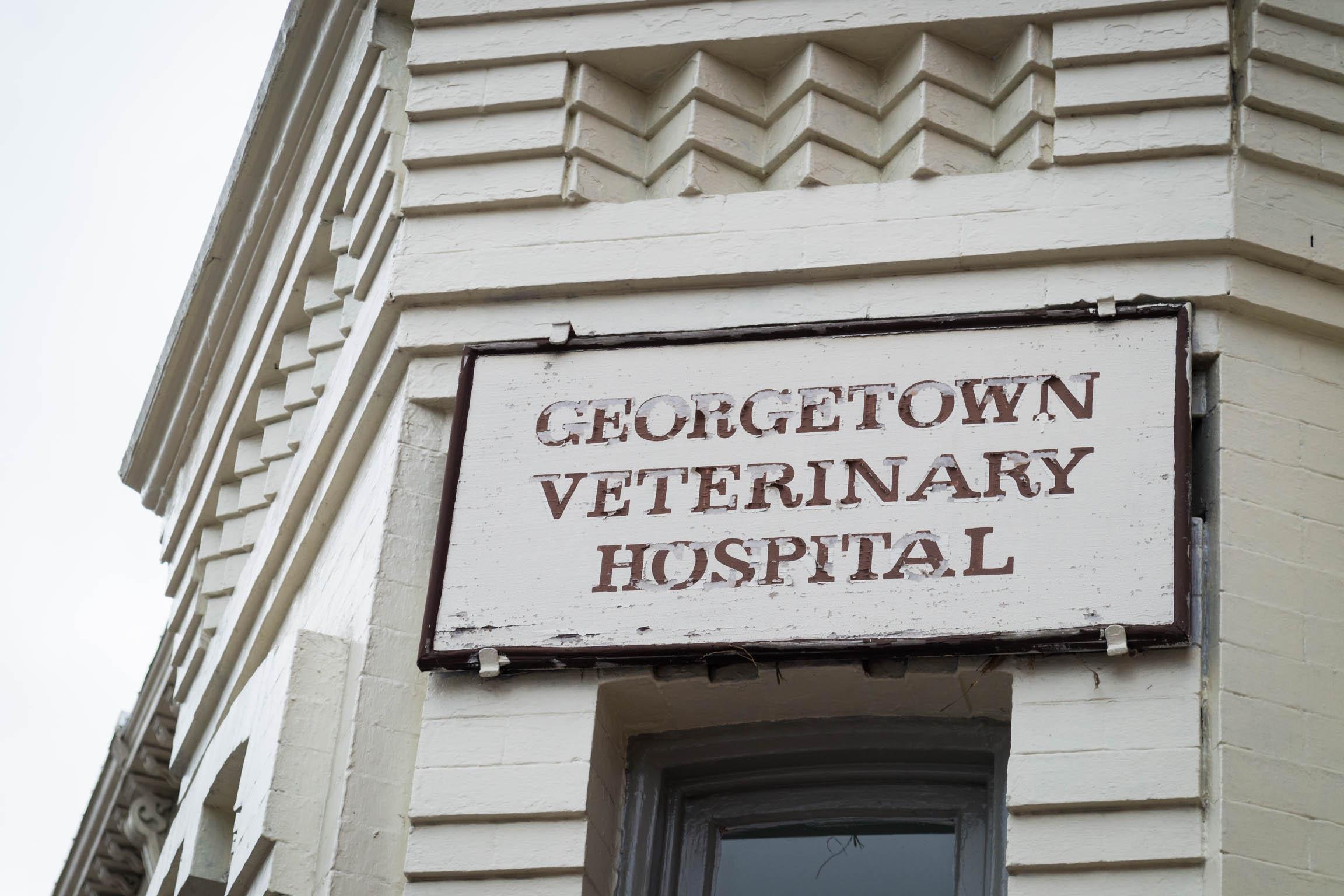 Une vieille enseigne d'un hôpital vétérinaire