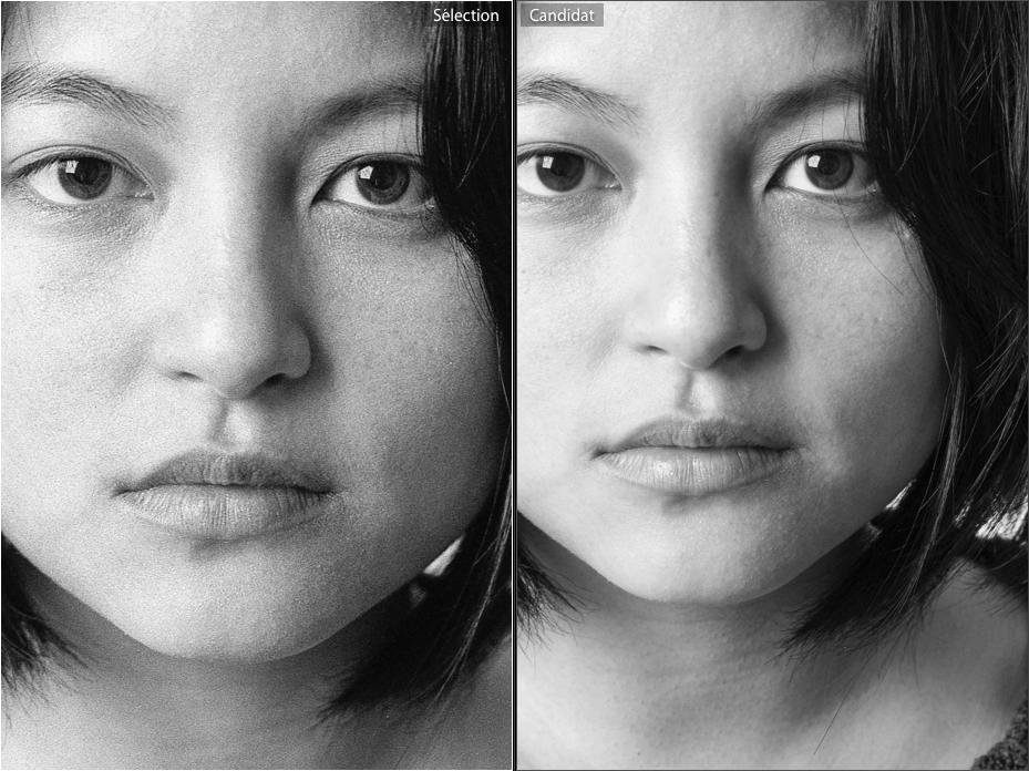 Comparaison du grain de l'image. A gauche : l'argentique / A droite : le numérique