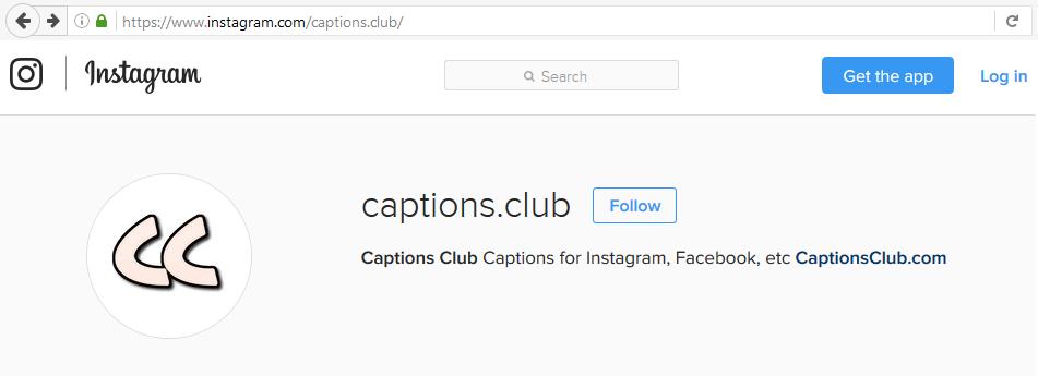 Captions Club Instagram Profile