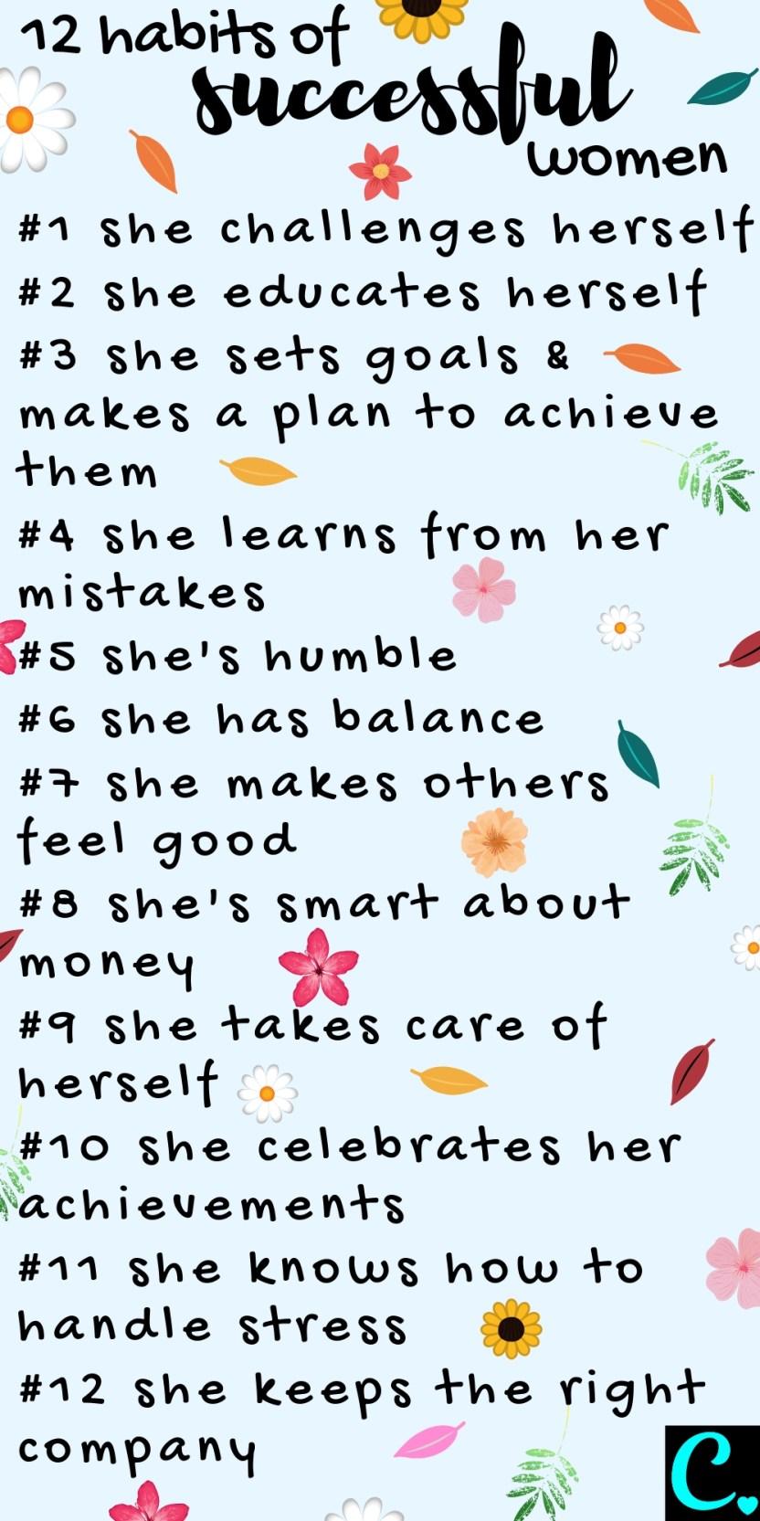 12 Habits of Successful Women Infographic #habits #habitsofsuccessfulpeople #success #successful #successfulwomen #successmindset