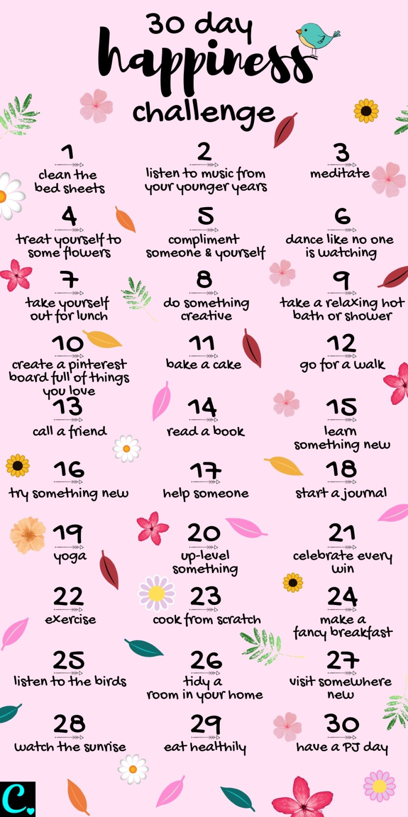 If you want to know how to be happy the give this 30 day happiness challenge a try! incease happiness & live your best life using these simple ideas to improve your happiness | infographic | Self care | personal development #infographic #howtobehappy#selfdevelopment #selfcare #increashappiness #happy