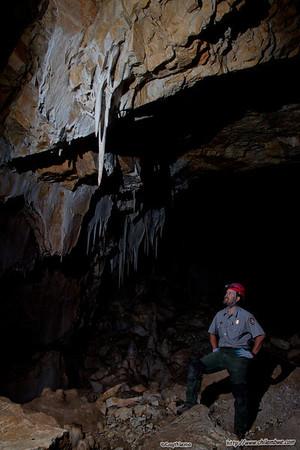 Ben, cave specialist, in Lehman cave.