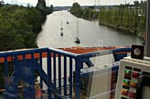 View from the Bridge Operator Tower on the Fremont Bridge as the Duck Dodge herd head toward the first evening opening