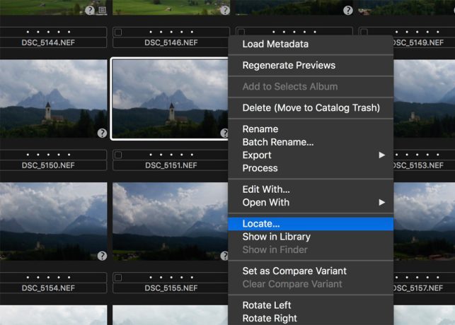 Capture One Locate Offline Files