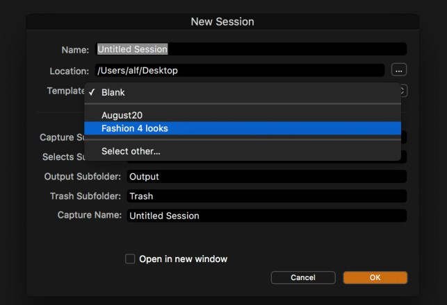 Creating a new session with a template