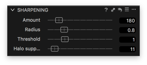 Remove sharpening artifacts with the Halo suppression slider.