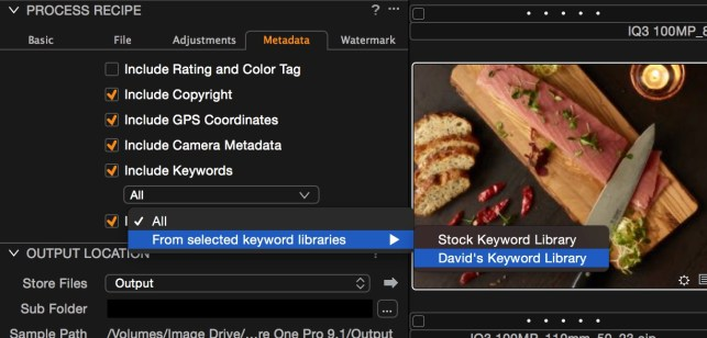 Keyword restrictions in Capture One Pro 9.1