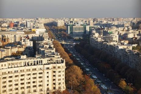 Overlooking the city of Bucharest, Romania