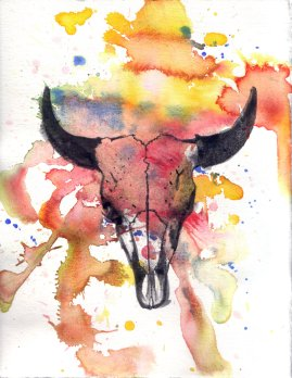 idillard_watercolor_cowskull