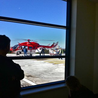 Our ward is the penthouse suite - top floor of the hospital. We often see a chopper arrive and deliver a critically ill patient for care.
