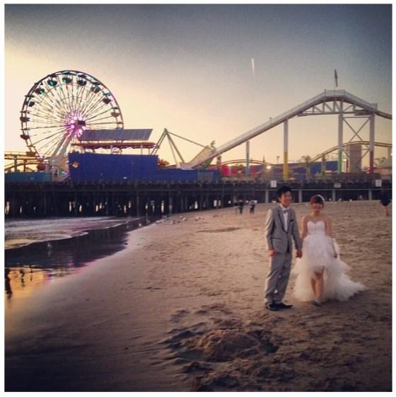 Instagram moment at Santa Monica beach