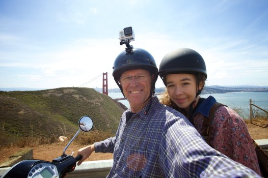 Taking on the city on our Vespa with Carissa and the GoPro 🙂