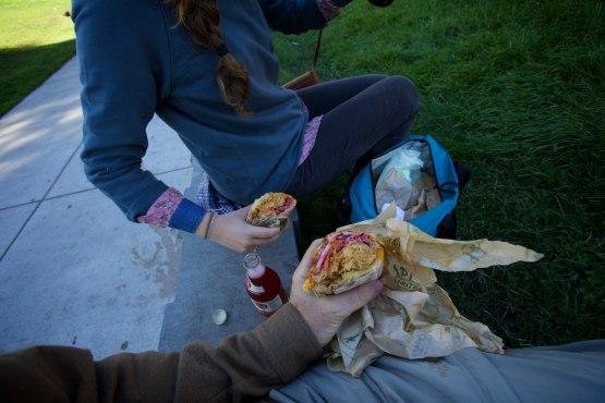 At Dolores Park Splitting The Fidel, Bi Rites version of the cuban sandwich