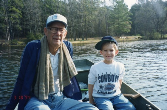 My dad fishing at Daingerfield State Park with Marshall