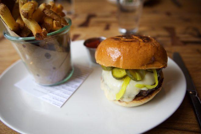 Texas Grass Fed B aurger - tx cheddar, pickles, potato bun