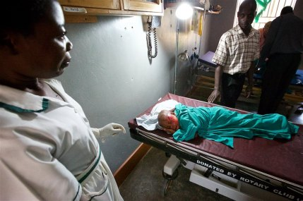 Well trained School nurse, Namulinde Rebecca, had already raced to small rural hospital to help little Catherine, working to stop the bleeding from her head.