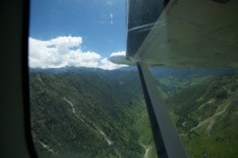 View of valley below at runway end, hard right bank just after take off :)