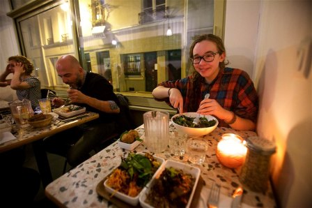 Such awesome people watching in the very hip Morais area of Paris. So fun at Nanashi (French Asian fusion food)`