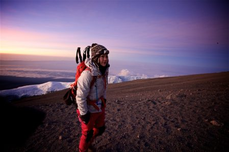 Summiting 19,341' Mount Kilimanjaro with the best climbing buddy a person could wish for, my friend Kat.