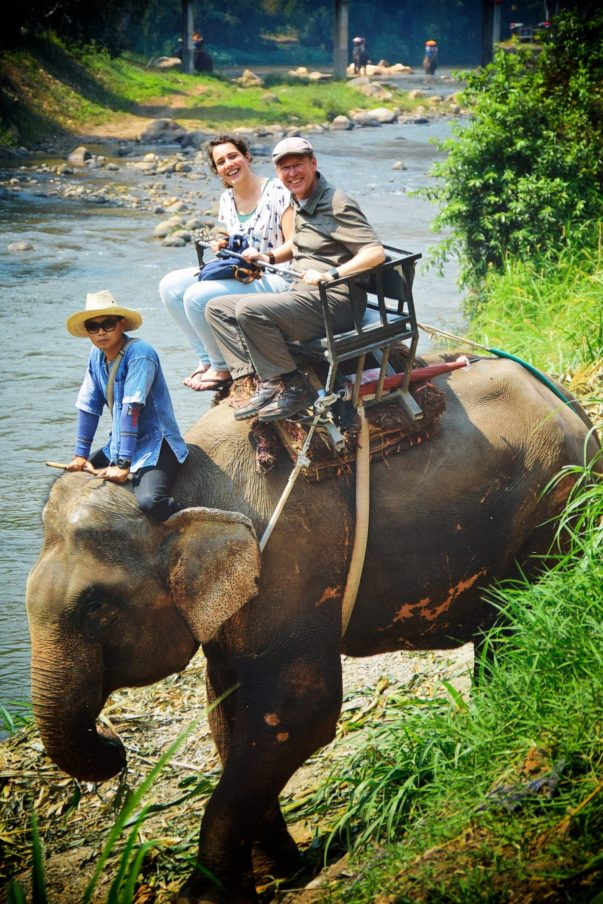 Riding Elephants in Thailand with Lenneke