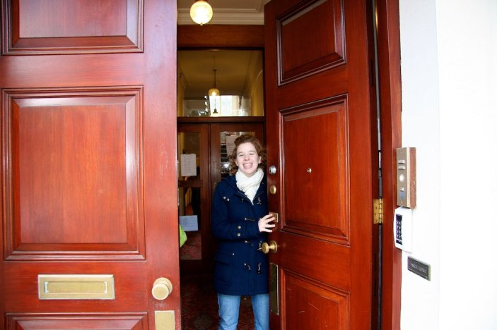 Christina greets us at the Daniel House Thursday morning upon our arrival