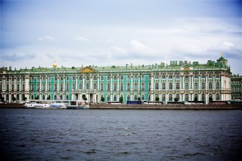 The Hermitage Museaum (Winter Palace) as seen from the Neva River
