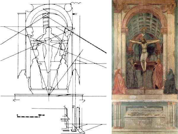 Masaccio, Trinity, fresco, 1425-28, Church of Santa Maria Novella, Florence, and geometrical reconstruction