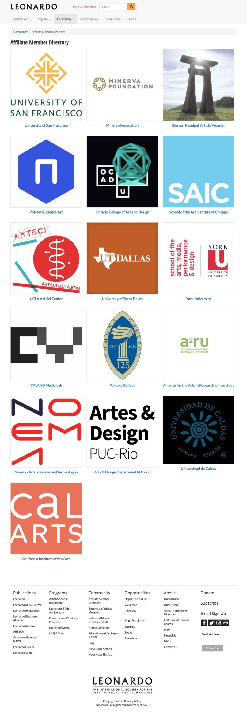 Affiliate Member Directory | Leonardo/ISAST