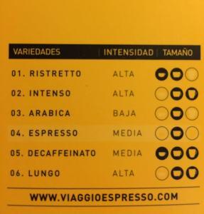Viaggio Espresso - Cápsulas de café Nespresso - Características